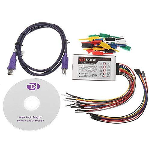 LA1010 USB Logic Analyzer 100M Max Sample Rate 16 Channel MCU/ARM/FPGA Debug Oscilloscopes - Arduino Compatible SCM & DIY Kits Programmer & Logic Analyzer - 1 x LA1010 Host, 2 x 9P Flat Cable