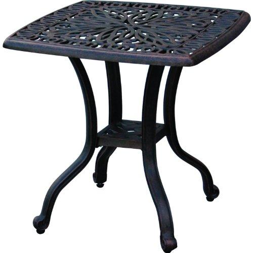 Darlee Elisabeth Cast Aluminum Outdoor Patio End Table - 21 Inch Square - Antique Bronze