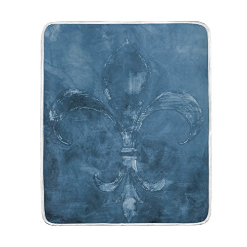 ALAZA Vintage Dark Blue Fleur de Lis Crystal Velvet Throw Blanket for Bed 50 x 60 inch Kids Baby Girls Colorful Painting Couch Blanket Throw (Fleur Bed)