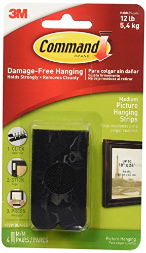 Command Picture Hanging Strips with Adhesive Medium, Black - 4 ea, 6 Pack (Best Location For Rental Property)