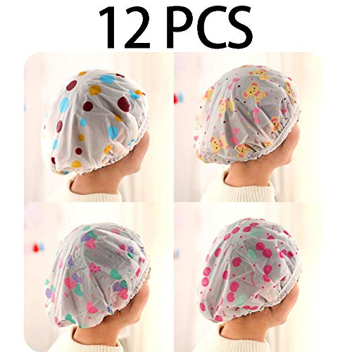 Ownest 12 Pack Waterproof EVA Plastic Bath Caps,Reusable Shower Caps For Long Hair With Lace Elastic Band Flower Printed Hat Environmental Protection Hair Bath Caps
