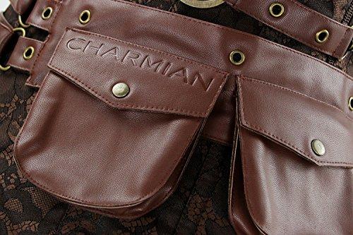 Charmian Women's Steampunk Spiral Steel Boned Vintage Retro corsé Tops Bustier Café Marrón