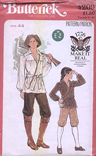 Butterick 4209 Mens Colonial Frontiersman Costumes Pattern (Colonial Costumes Patterns Children)
