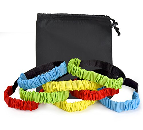 3 Legged Race Bands - (pack of 8) with black Drawstring Bag - Great for Kids Carnival, Field Day, Backyard, and Relay Race Game ()