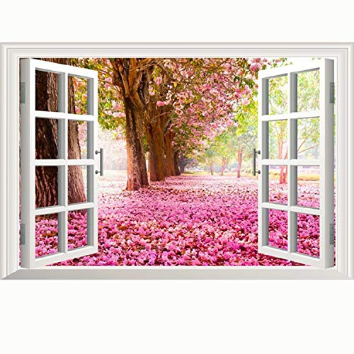 (Amtoodopin 3D Cherry Blossoms Fake Windows Wall Stickers Removable Faux Windows Wall Decal for Livingroom Bedroom (Deciduous Flower 23.6x35.4 inch))
