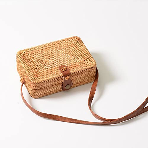 Wbmmctt Borsa Quadrata Tessuta A Mano Di Borse In Rattan