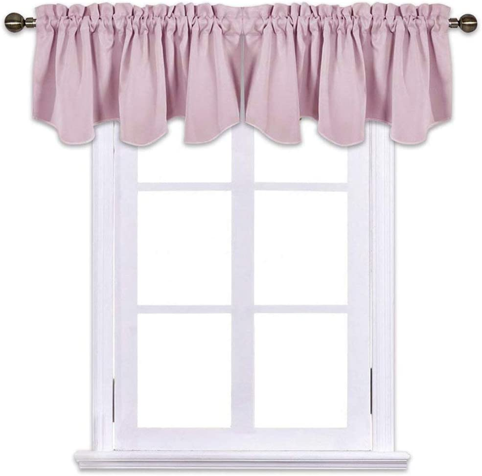 NICETOWN Blackout Valances for Girls Room - 22 inches by 22 inches  Scalloped Pole Pocket Baby Nursery/Girls Dorm/Bay Window Curtains Valances,