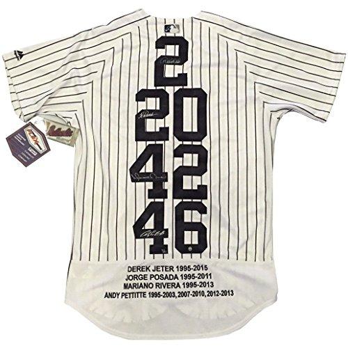 Yankees core 4 signed jersey Derek Jeter Mariano Rivera Andy Pettitte Jorge Posada auto Steiner COA LE (Rivera Auto)
