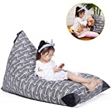 Stuffed Animal Storage Bean Bag Chair for Kids and Adults. Premium Canvas Stuffie Seat - Cover ONLY ( Grey with White Arrows 200L/52 Gal )