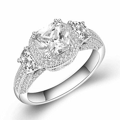 wattana 3ct Moon Shape Princess Cut AAA CZ Women's 925 Silver Engagement Ring Size 4-9.5 Wat (9)