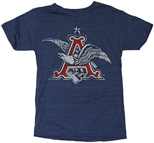(Anheuser Busch Mens T-Shirt - Distressed Classic Eagle A Logo (Small) Heather Blue)