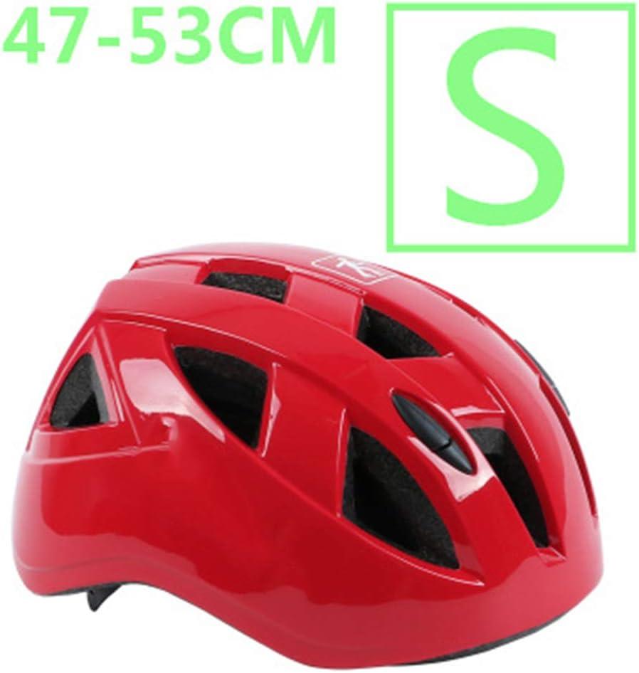 YWZQ Ciclo de Seguridad Casco Protector pequeños tamaños, para el niño MTB monopatín de Bicicletas Vespa Hoverboard Montar a Caballo Ligero Ajustable y Transpirable,Rojo,S