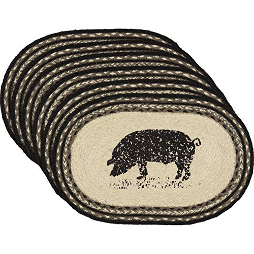 VHC Brands Farmhouse Tabletop Kitchen Miller Farm Charcoal Pig Jute Stenciled Nature Print Oval Placemat Set of 6, One Size, Bleached White