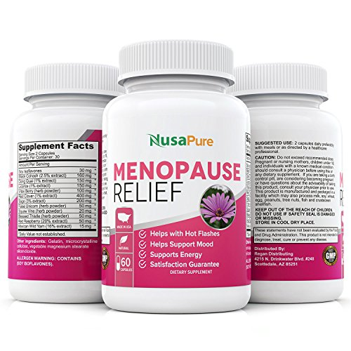 Menopause Supplements for Hot Flash Relief: Black Cohosh and All Natural Ingredients: Perimenopause Supplements: Menopause Relief; Reduce Hot Flashes and Night Sweats: 60 Capsules
