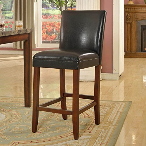 HomePop K1401-29-E073 Parsons Leatherette Counter Height Chair, 29-Inch, Black