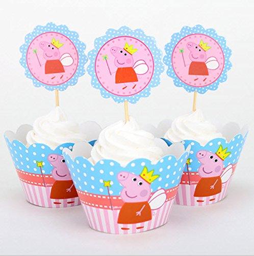 12 x Peppa Pig fiesta tarta de cumpleaños Cupcake Wrapper ...