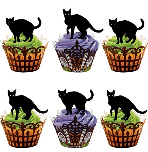 AKGifts Halloween Black Cats, 12 Cup Cake Toppers, Edible Stand Up Decorations (7 - 10 BUSINESS DAYS DELIVERY FROM UK)