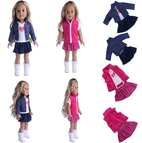 - Doll clothes 6pcs casual clothes dress skirt for 18 inch American girl doll and other 43-46cm doll