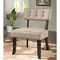 Kings Brand Furniture Vinyl Accent Chair with Button Tufts, Cappuccino/Stone