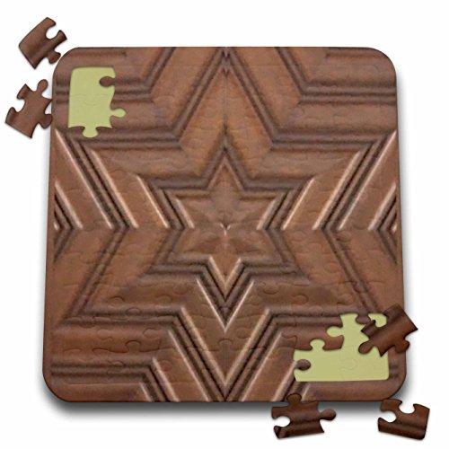 3dRose InspirationzStore Judaica - Magen David Stars - Photo Print of Wood Carving - Brown Wooden Jew Symbol - Judaism - Jewish Gifts - 10x10 Inch Puzzle (pzl_155683_2) -
