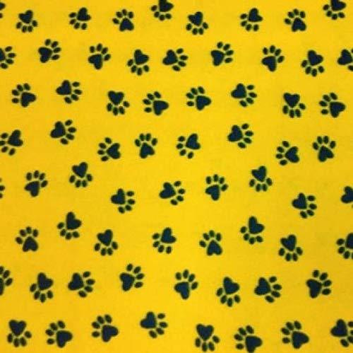 Printed Fleece Fabric - 2 Yards (Yellow/Black Paws) (Cat Print Fleece Fabric)
