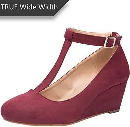 34e144112 Luoika Women's Wide Width Wedge Shoes - Mary Jane Heel Pump with T-Strap.