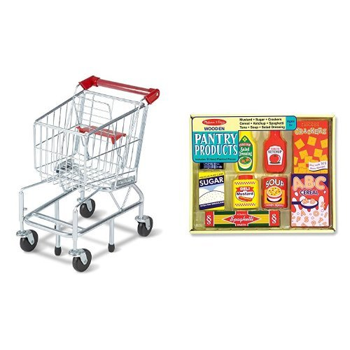 Melissa & Doug Shopping Cart and Melissa & Doug Wooden Pantry Products Bundle