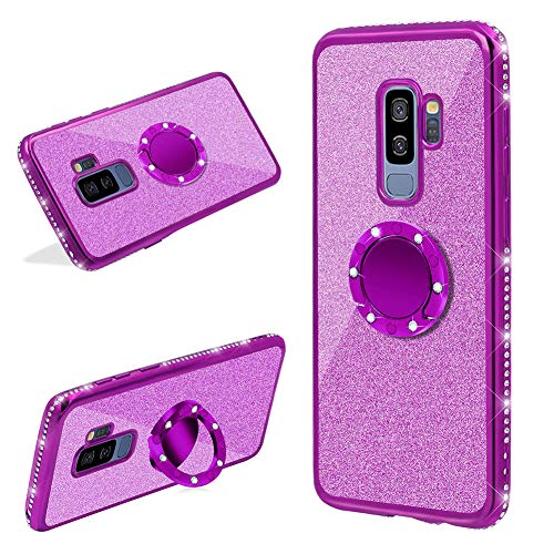 2 in 1 Glitter Silicone Case with Ring Holder For Samsung Galaxy S9 Plus,Finger Grip Stand Bling Sparkle Diamond Rhinestone Bumper Cute Luxury Sparkle Shockproof Protective Girl Women Cover,Purple