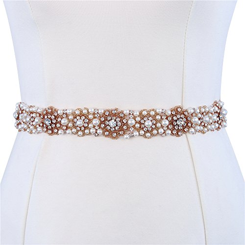Bridal Belt,XINFANGXIU Wedding Dress Sash Belts,Bridal Sash Belt,Rhinestone Belt by Iron Sew on Pearls Beads Bridesmaid Belt for Dress Cake Bride Dress Wedding Prom Ball Party Evening Gown(HZF-008) by XINFANGXIU