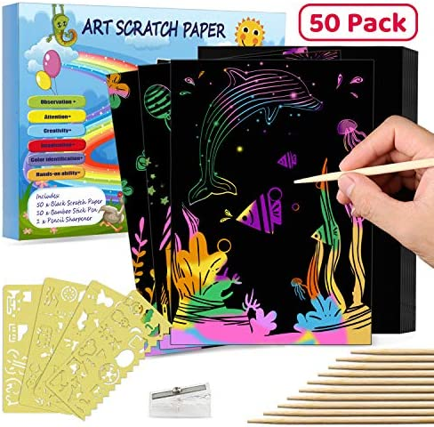 CHEPULA Scratch Art Set 50 Pcs A4 Scratch Paper Rainbow Magic Scratch Off Arts Supplies for Kids DIY Paper Crafts Kits with 10 Wooden Styluses 3 Drawing Stencils for Children,School,Party,Gift