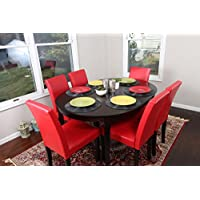 Red Leather 7pc Oval Solid Top Dining Table Contemporary Cappuccino Finish Solid Wood Dining Table Chairs Set Oval