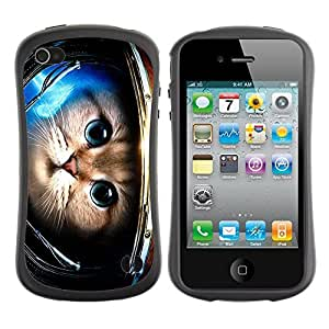 Hybrid Anti-Shock Bumper Case for Apple iPhone 4 4S / Cute Astronaut Kitty Cat