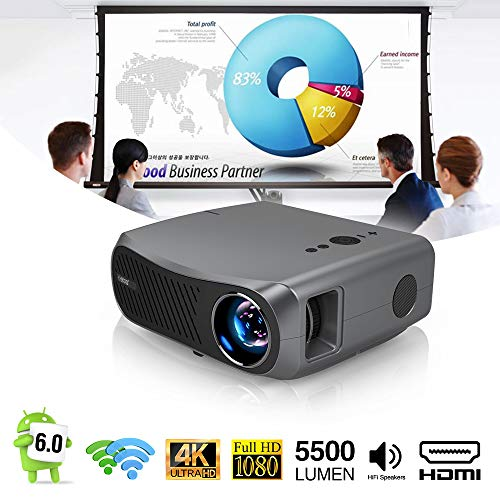 EUG 5500lm Full HD Video Projector with Bluetooth WiFi 2020 Upgraded 2G+16G Android LCD Projector 1080P Native for Presentation Powerpoint Classroom Teaching Outdoor Movie with HDMI VGA USB AV Zoom