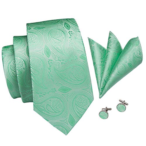 Hi-Tie New Arrival Mens Mint Green Paisley Tie Necktie Pocket Square and Cufflinks Tie Set Gift Box