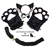 Cat Cosplay Costume Kitten Tail Ears Collar Paws Gloves Anime Lolita Gothic Set