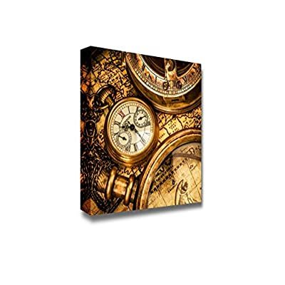Canvas Prints Wall Art - Vintage Still Life. Antique Pocket Watch | Modern Home Deoration/Wall Art Giclee Printing Wrapped Canvas Art Ready to Hang - 16