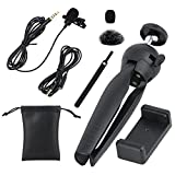 VANDESAIL Lavalier Lapel Microphone, Audio for Youtube Omnidirectional Mic with Tripod for Youtube, Interview, Studio, Video Recording