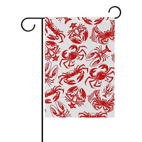 AshasdS Double Sided Indoor Outdoor Garden Flag Seafood Ocean Lobster Crab Fade Resistant Seasonal Holiday Decor Yard Flag 27.5x39.3 -