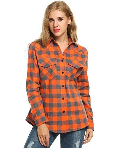 Flannel Womens Plaid (Zeagoo Womens Tartan Plaid Flannel Shirts, Roll up Sleeve Casual Boyfriend Button Down Gingham Checkered Shirt, Orange, Medium)