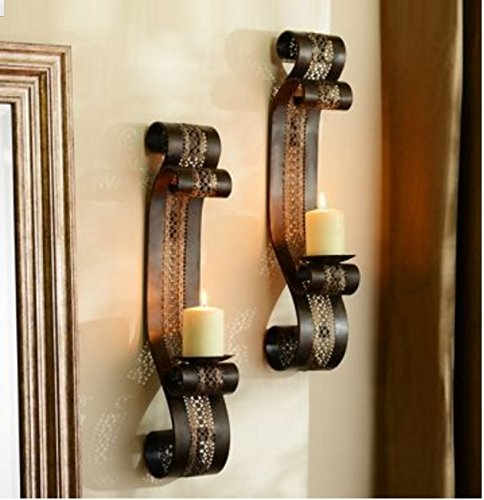 Home Decor - Bronze/ Gold & Dark Finish Pierced Metal Sconce, Set of 2