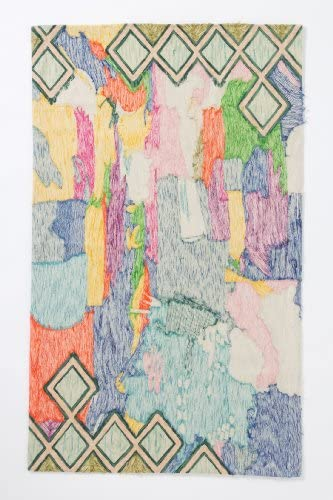 Indus Hair Extensions by MDS Crewel Abstraction Rug 4X6FT