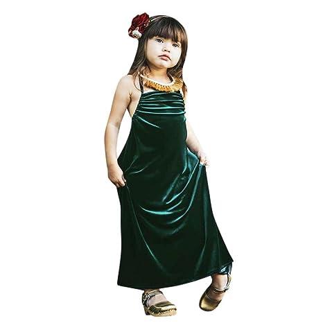 Vestido Niña, ❤️Xinantime Vestido sin mangas del vendaje de terciopelo sólido para niñas pequeñas