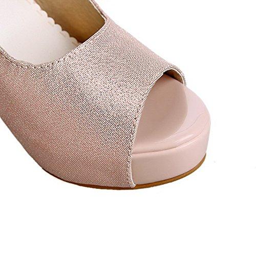 Amoonyfashion Damesgesp Peep Toe Spikes Stilettos Solide Sandalen Roze
