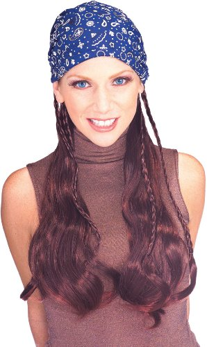 [Rubie's Costume Pirate Wig with Blue Bandana, Brown, One Size] (Pirate Hair)