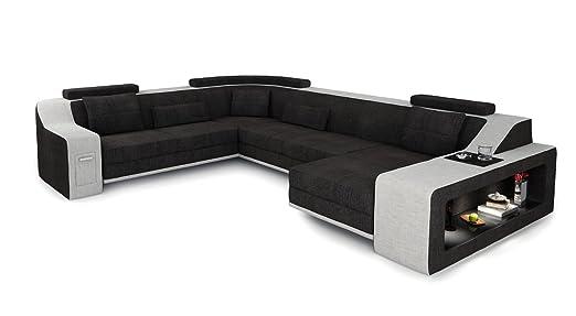 Xxl Wohnlandschaft Stoff Sofa Schwarz Antrazit Platin Grau U Form