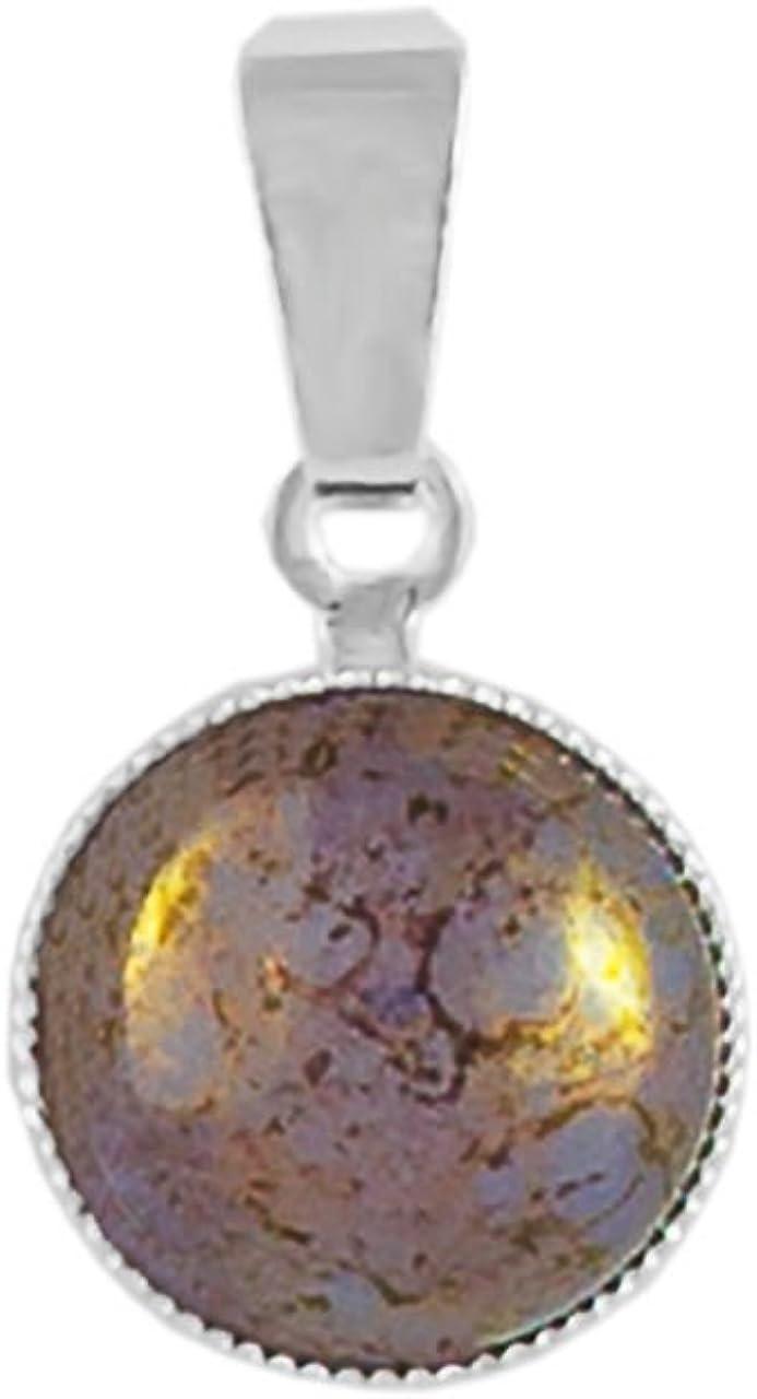 Plata 925 Chapado en Ronda Minimalista Colgante, Collar de 10mm de Terracota de color Púrpura Ópalo de Cristal checo de Piedra hechos a Mano BohemStyle