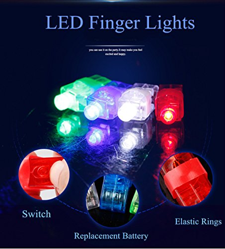 Rave finger flashlights, SUNMALL 90 pcs Magic LED super bright pointers lacer Finger Beam Lights bulk Light up Rings Strap on LED Fingers Toys Party Favor-White, Red, Blue, Green