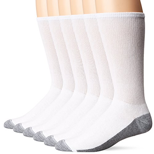 Cotton Cushion Crew Socks - Hanes Men's Comfortblend Max Cushion Crew Socks 6-Pack, White, Shoe Size: 6-12