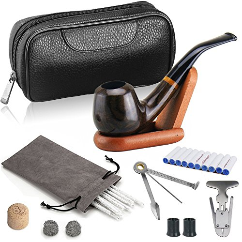 Joyoldelf-Luxury-Tobacco-Smoking-Pipe-Set-Deepened-Windproof-Wooden-Pipe-with-Leather-Tobacco-Pouch-Wood-Stand-and-Smoking-Accessories