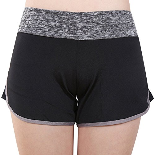 Dasior Women's Quick-Dry Mid-Rise Plus Activewear Shorts 3XL Grey